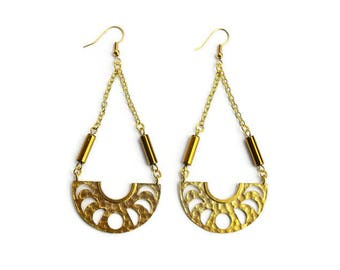 Hammered Brass Lunar Phases Statement Earrings