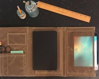 iPad Case, iPad Portfolio, Tablet case, a5 Journal Cover, Trifold Portfolio, Journal, Phone pocket, Portfolio iPad pocket and Journal pocket