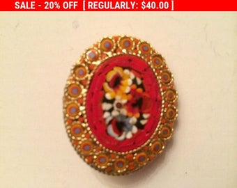 Additional 10 Dollar Coupon Inside Set of 5 Different Micro Mosaic Brooches