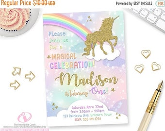 50% OFF SALE Unicorn Invitation, Rainbow Invitation, Magical Birthday Invitation, Unicorn Birthday Invitation, Rainbow Birthday Invitation,