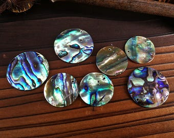 10 Pieces 20mm Abalone Shell Round Pendant Paua Shell Round Pendant