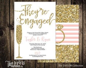 Glitter Engagement Party Invitation - TAYLOR Collection - Gold Glitter Engagement Invitation - They're Engaged - Silver Engagement Party