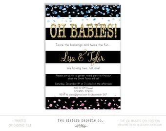 OH BABIES Twins Gender Reveal Invitation - Twins Gender Reveal - Twins Reveal Invitation - Twins Invitation