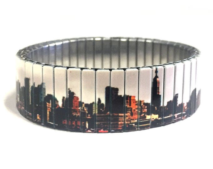 Bracelet New York Skyline, New York, Repurpose watch band, Sublimation, Stainless Steel, gift for friends