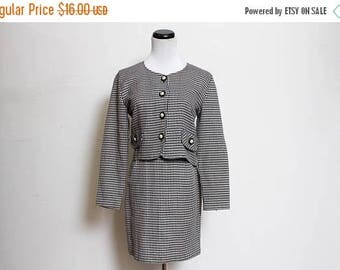 25% OFF VTG 90s Clueless Checkered Pearl Black and White Crop HighWaist Skirt Suit Set XS/S