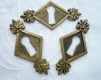 3 Antique FRENCH BRASS Keyhole Escutcheons, Brass Keyhole Plates, Vintage Brass Keyhole Covers.