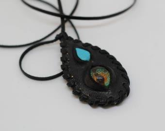 Eye amulet- eye necklace-eye pendent- Evil eye- Leather amulet-leather jewelry- Evil eye pendent- Larp amulet-