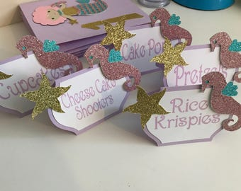 Mermaid themed tent cards