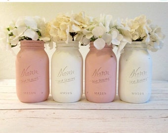 SUMMER SALE Set of 4 Quart Mason Jars - Baby Shower Decorations - Pink and White Painted Mason Jars - Rustic Wedding Centerpieces