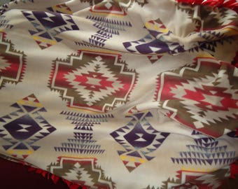 Tribal print fleece blanket or throw