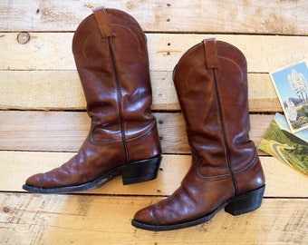 Men's 8 EE (Extra Wide) Vintage Tony Lama Brown Leather Cowboy Western Boots Black Label El Paso Texas U.S.A.