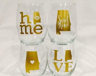 State of Alabama wine glass set