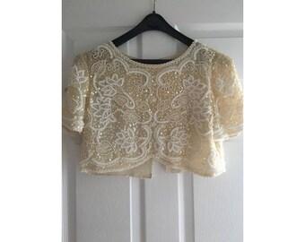 Bridal Bolero, Beaded Bolero, Silk Bridal Jacket, Shrug, Cover up, Silk, Wedding, Buttons, Silk, Exquisite Beading, Cream Ivory Bolero,