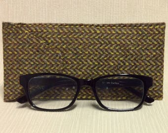 Welsh tweed glasses/spectacles case in brown, beige & yellow