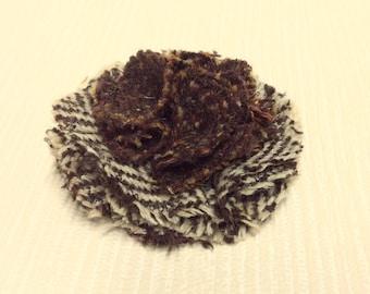 Tweed flower brooch, corsage in and brown & cream herringbone