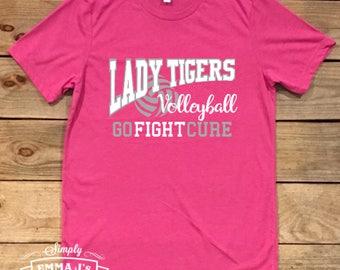 Volleyball shirt, go fight cure, team spirit, breast cancer awareness, pink night, volleyball mom shirt