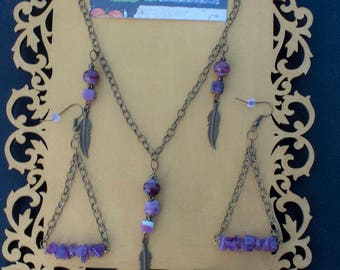Purple beads and Three Feathers Necklace