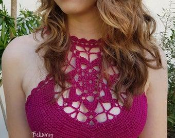 """Crochet Crop Top """"Helena""""  PDF Pattern, Crochet Bikini Top, Crochet Festive Top Sizes XS - L"""