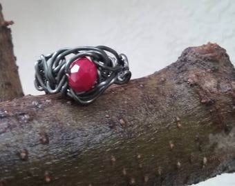 Wire Jewelry, Ring, Handmade- Crystal, Hematite Design, Index Finger Ring, Size 8
