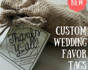 Gorgeous Personalized Wedding Favor Tags Favor Kit - Rose Wedding Gift - Unique - Just Add Candy!