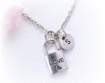 VACATION SALE Love padlock Necklace, padlock Jewellery, love Gift, padlock Charm Jewelry, Personalised Initial Necklace, initial necklace, S