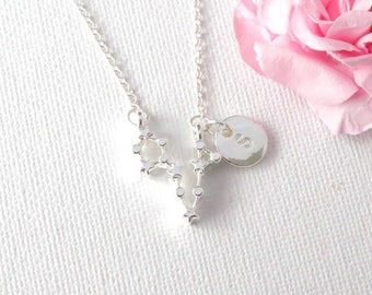 VACATION SALE Silver Pisces Necklace, Pisces zodiac, constellation jewelry, star sign necklace,star sign necklace, March and April birthday