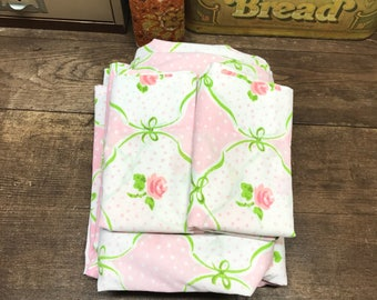 Vintage Sheets Linens Full/Double Set Fitted Flat 2 pillowcases Pink Floral Muslin