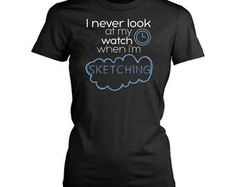 Sketching womens fit T-Shirt. Funny Sketching shirt.