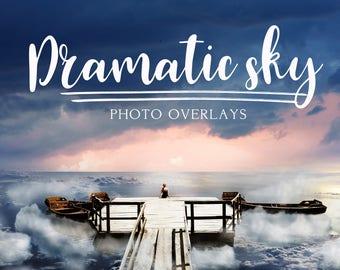 Set dramatic Sky overlays, sky overlay,  sky overlays, photoshop overlay, cloud overlay