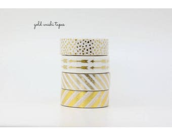 Gold washi tape set, gold japanese paper tape, 4 rolls of gold decorative tape, 15mm x 10m