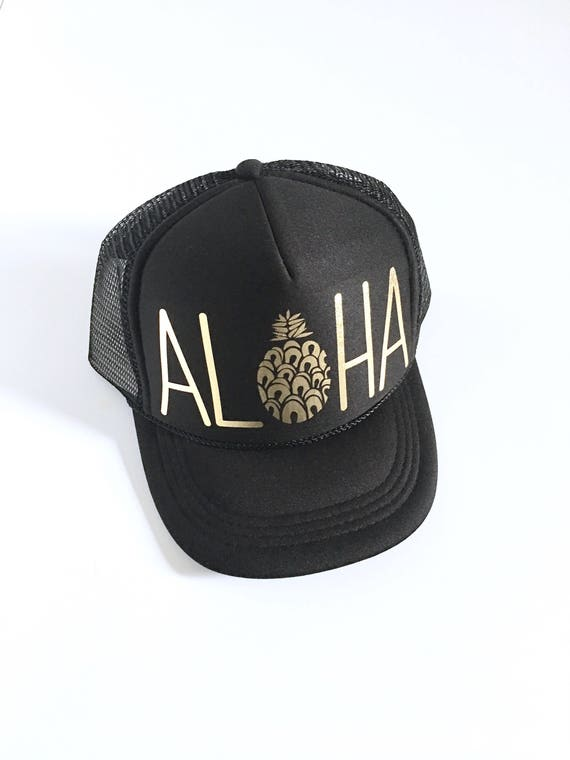 Kids Aloha Trucker Hat| Black and Gold vinyl | keiki hat| Aloha Hat| Hawaii Hat| Pineapple Hat| Pineapple| Beach Hat| kids Hat
