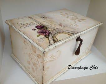 Jewelry box...wooden jewelry box decoupage...jewelry box with compartments...Paris jewelry box...jewelry organizer...keepsake box