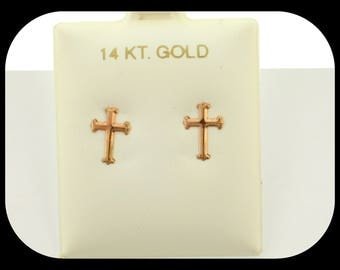 New 14K Solid Yellow Gold Baby Girl Cross design Stud EARRINGS with Safety Backs