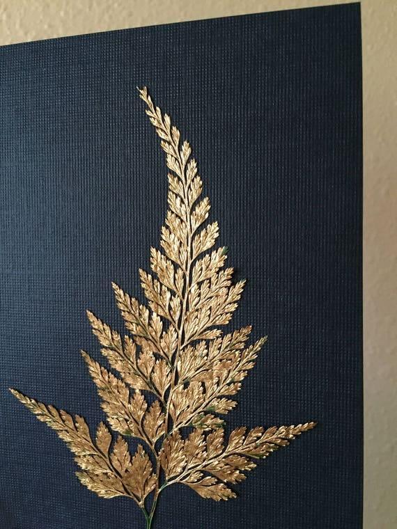 Gold Fern Herbarium Art - Gold Leaf Botanical Art - Real Pressed Fern Artwork- Pressed Vintage Botanical - Framed Fern Art- Gold and Black