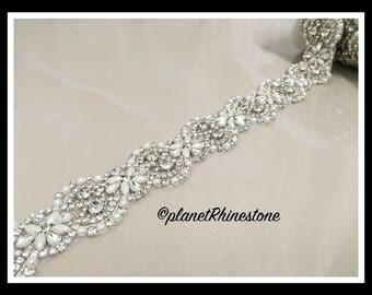 1 Yard Iron-on Embellished Rhinestone Pearl Bridal Trim #I-10