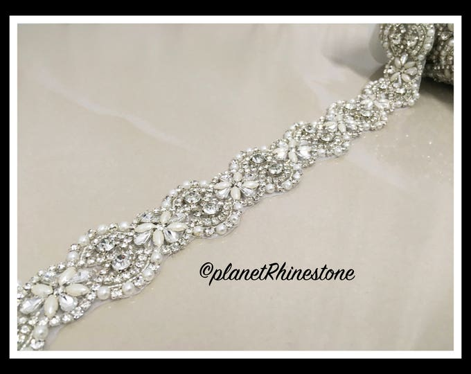 1 Yard Iron-on Embellished Rhinestone Pearl Bridal Trim #I-10