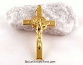 St Benedict Rosary Crucifix 2-Inch Goldtone  Italian Rosary Parts