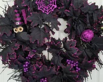 Halloween wreath, spooky wreath, holiday wreath, spider wreath, pumpkin wreath