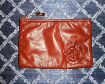VINTAGE LETISSE Brown Leather Clutch/Pouch