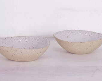 White Bowl-white speckled-white cereal bowl-bowl natural-white beige speckled-white soup bowl