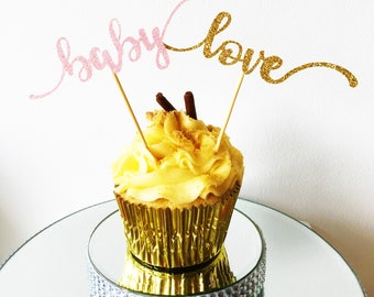 Baby Love Cupcake Toppers, Set of 8, Baby Shower Party Picks, First Birthday, 1st Birthday, Glitter Toppers, Cake Accessories, Food Picks