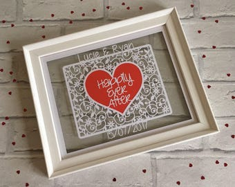 Wedding gift paper cut framed, anniversary gift, happily ever after, personalised keepsake gift, Mr & Mrs Gift, 1st anniversary gift, paper