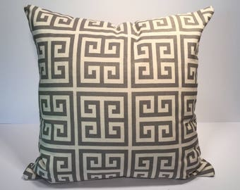 """Gray Pillow Cover, Geometric Pillow Cover, Gray Beige Off White, Decorative Pillow Cover, Zipper Pillow Cover, 18"""" Pillow Cover, Pillow"""