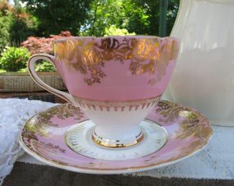 Vintage Bone China Tea Cup Gladstone Cup and Saucer Made in Staffordshire, England Cottage  Style Bridal Shower
