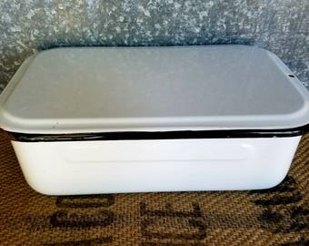Rectangular White Enamelware Pan With Lid & Black Trim, Refrigerator Box, Storage Container, Farmhouse Kitchen -- 14 1/2 Inches