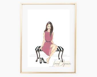 Siena Fashion illustration print,Fashion sketch print Siena, Black and white print,Vanity art print, Home decor print, Wall Art,Fashion art
