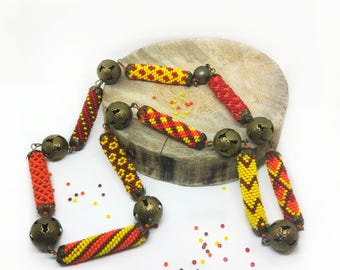 African fashion necklace Seed bead crochet rope necklace Colorful patchwork necklace Geometric necklace Beadwork Multicolor ethnic necklace