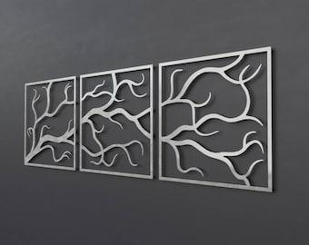 Tree Branches Metal Wall Art Sculpture, 3 Piece Wall Art Tree, Large Metal Wall Art, Abstract Metal Wall Art, Branches Wall Decor, Triptych