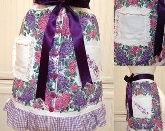 Vintage half apron cotton napkins purple pink lilacs lavender purple ribbon ties extra long ties vintage buttons hanky pockets crocheted