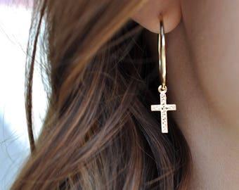 Cross and Hoop Earrings, Cross Earrings, Cross Hoop Earrings, Delicate Cross Earrings, Cross Earring, Gold Cross Earrings, Gold Hoop Earring